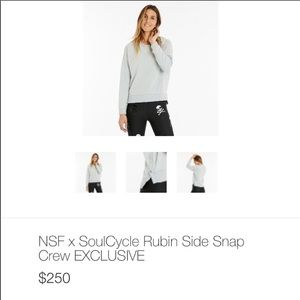 NWOT- NSF SoulCycle Rubin Side Snap Crew Pullover